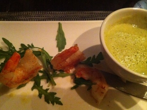 local prawns with pea prawn cappuccino