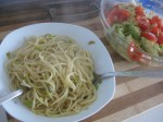 simple, but just divine. use wild garlic for a simple pasta aglio olio. slowly roast garlic in olive oil. add some dried red chilies