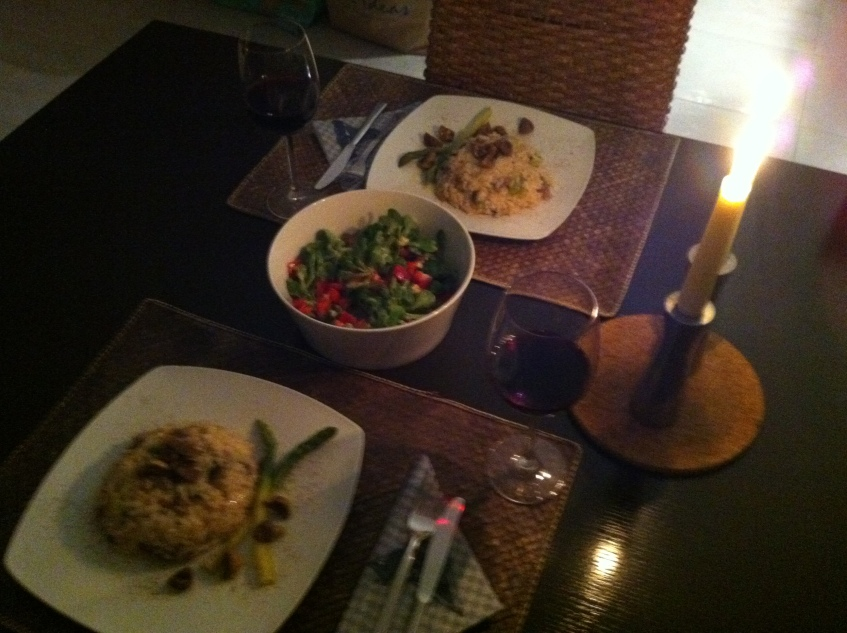 perfect dinner for two on a cosy night